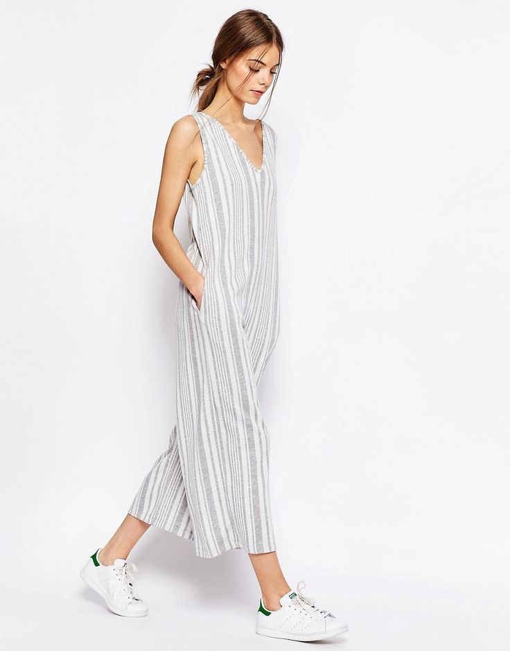 Image 1 of ASOS Jersey Jumpsuit with Wide Leg in Variegated Stripe