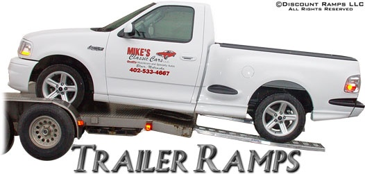 Car Trailer Ramps from Discount Ramps have a 2,500lb capacity per axle for loading cars or pickup trucks onto a lower clearance trailer. Available in a range of lengths and capacities, and proudly made in the USA.
