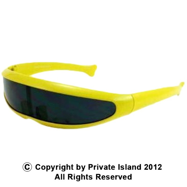 Private Island Party  - Yellow Futuristic Trekkie Sunglasses 1007, $3.99 (http://privateislandparty.com/products/yellow-futuristic-trekkie-sunglasses-1007)  Great for X Men Cyclops Costume