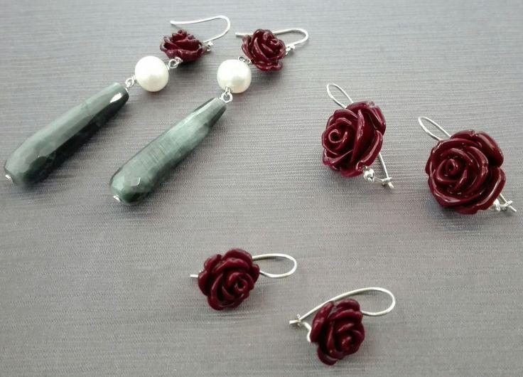 Etra Gioielli. Orecchini in argento, rose di resina, perle d'acqua dolce e occhio di falco