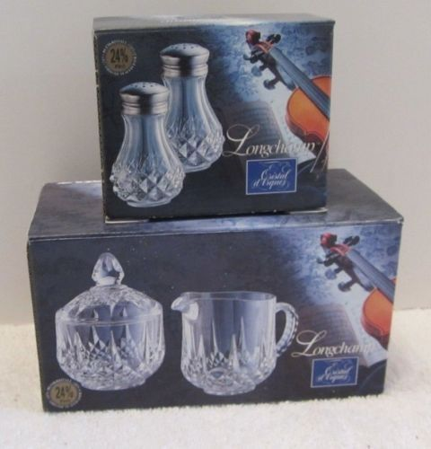 Cristal d'Arques Crystal LONGCHAMP Salt & Pepper and Sugar Creamer NEW w/Box