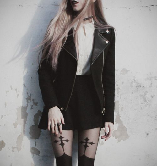 kate | via Tumblr #cross #tights #fashion #gothic #grunge #jacket #leggings #outfit #rings