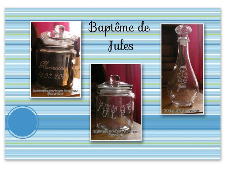 #gravure bonbonnière et carafe#verre#personnalisée pour un baptême