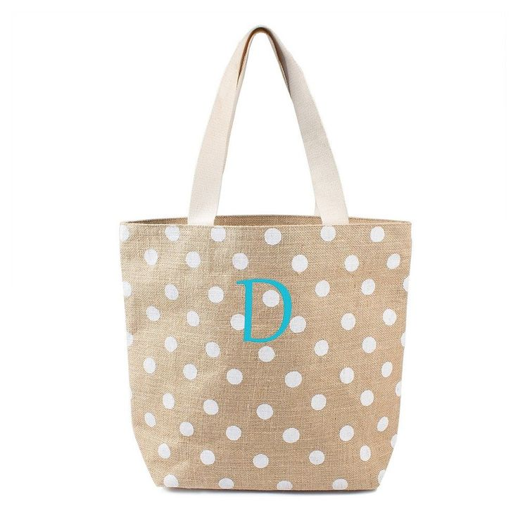 Women's Monogram White Polka Dot Natural Jute Tote Bags -