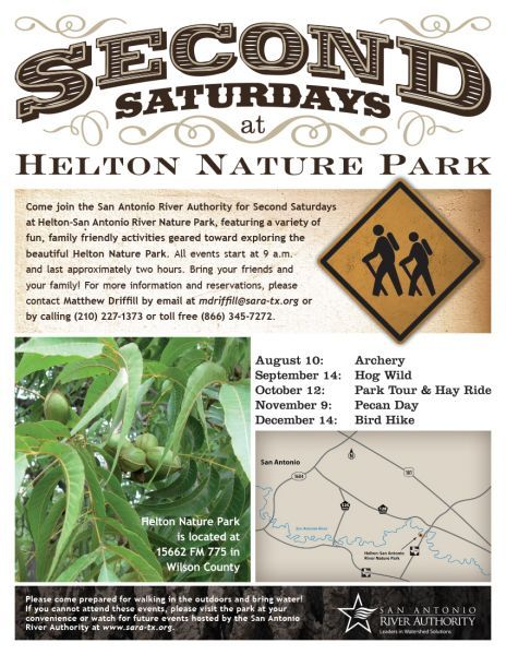 San Antonio River Authority will be holding the Second Satudays event on September 14, 2013 at Helton Nature Park. A family friendly outdoor event. (Courtesy of San Anotonio River Authority)