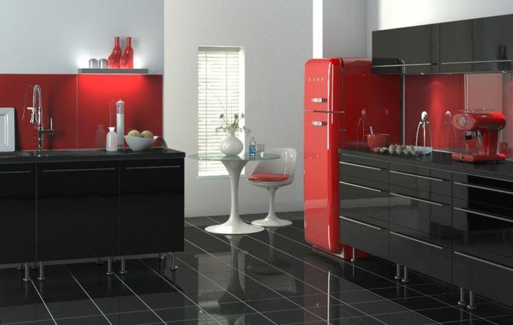 24 best cuisine rouge images on pinterest red kitchen for Cuisine rouge et noir