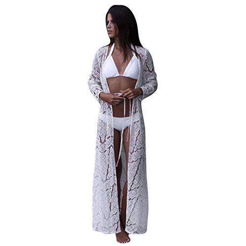 b6cf9c5b0e Robe de Plage Dentelle Crochet Femme GongzhuMM Femmes Robe Dentelle Cache  Maillot de Bain Cardigan Dentelle