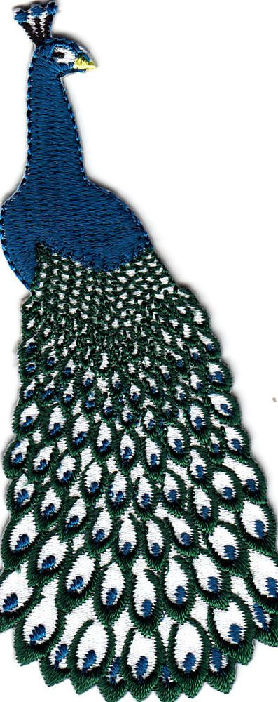 BIRDS, PEACOCK, BLUE & WHITE/ Iron On Embroidered Applique, Birds, Peacock