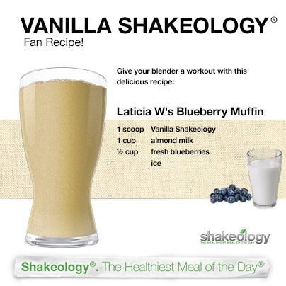 Blueberry muffin Shakeology recipe   http://myshakeology.com/karissabenedict  Want to have the healthiest meal of your day! Try shakeology!! Visit my site or ask me how! :)