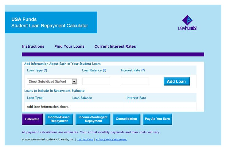 The USA Funds Student Loan Repayment Calculator provides estimated monthly loan payments for both subsidized and unsubsidized student loans based on the various payment plans.