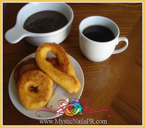Mandocas y arepas fritas ... Venezuelan typical breakfast,