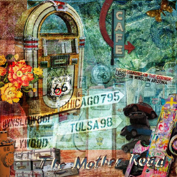 The Mother Road created by Marlie with Vagabond Adventure: Cruising the Mother Road RT 66 Art Journal Kitby 2 Curly Headed Monsters Designs available @ Mischief Circus. Part of the NEW Create Your Own Collab!