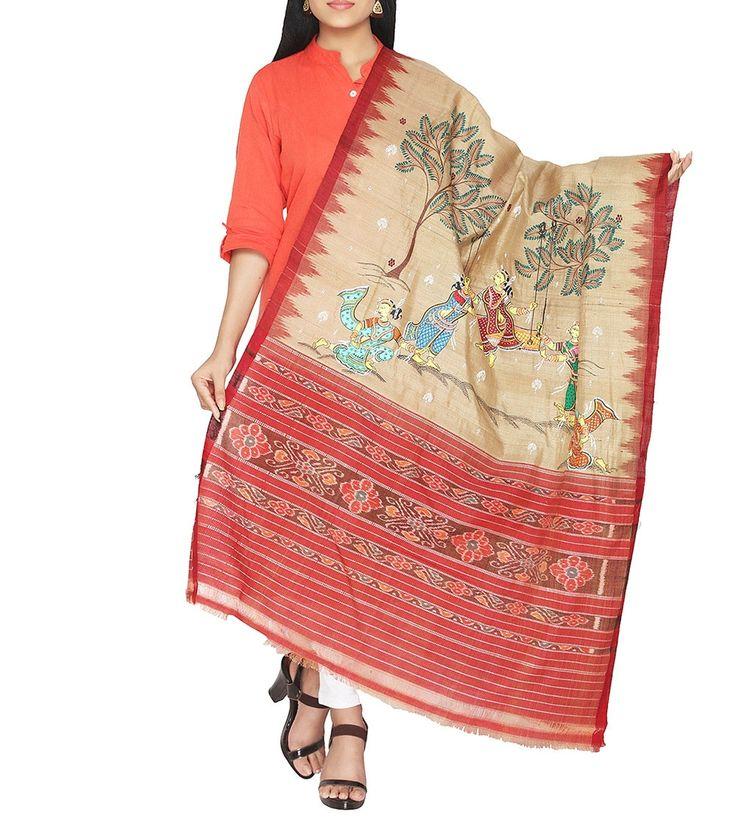 Beige Tussar Silk Hand Painted Dupatta
