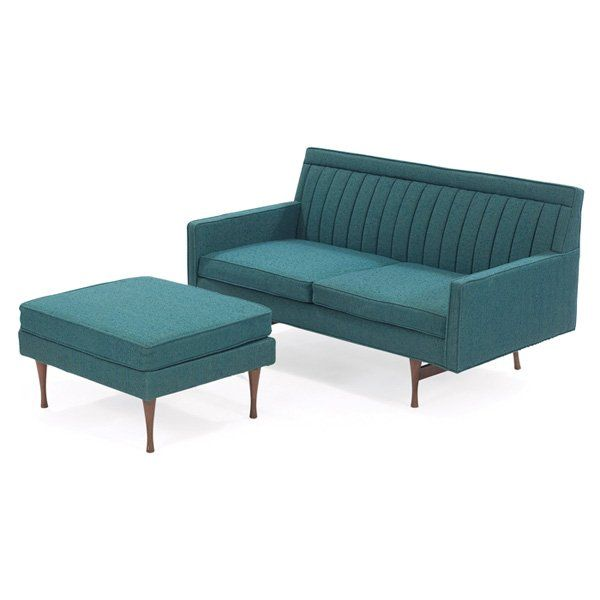 Paul McCobb; 'Symmetric Group' Loveseat and Ottoman for Widdicomb, 1960s.