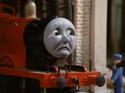 """James crying in """"Troublesome Trucks"""" 