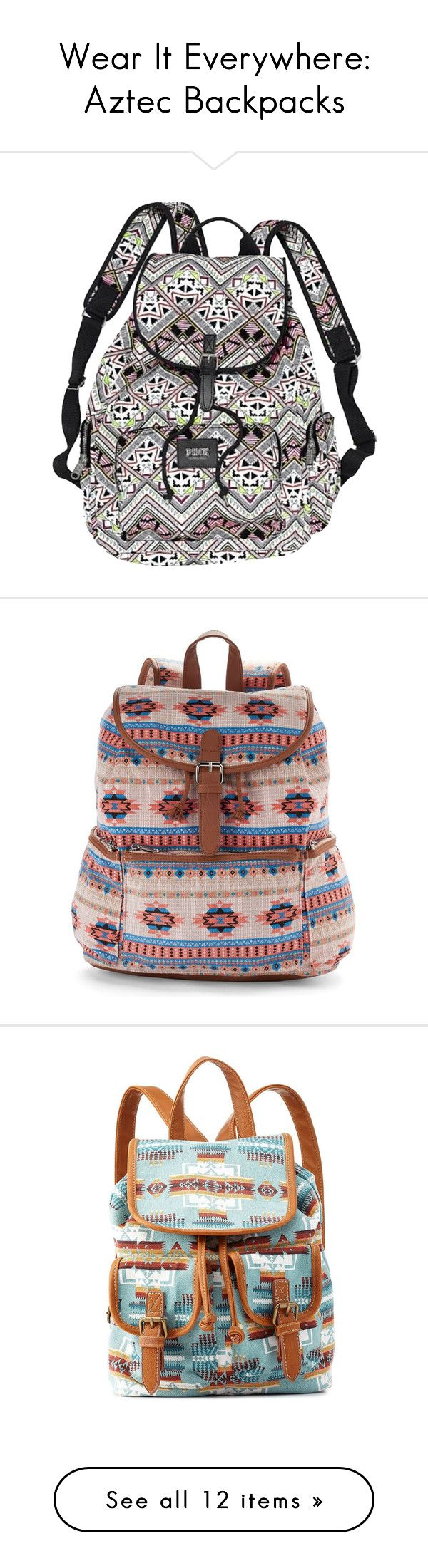 """Wear It Everywhere: Aztec Backpacks"" by polyvore-editorial ❤ liked on Polyvore featuring aztecbackpack, bags, backpacks, accessories, multi aztec, preowned bags, pink aztec backpack, pre owned bags, plastic bags and pink plastic bags"
