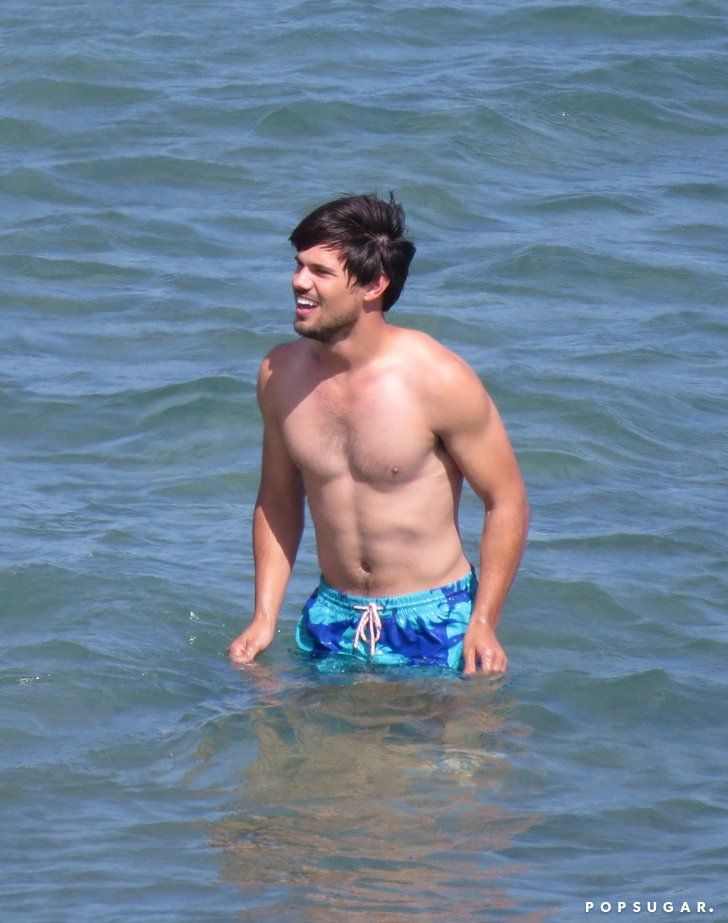 Pin for Later: The 21 Sexiest Shirtless Moments From 2014 Taylor Lautner's On-Set Skin Twilight may be a thing of the past, but Taylor Lautner still looked great shirtless while filming in LA in June.