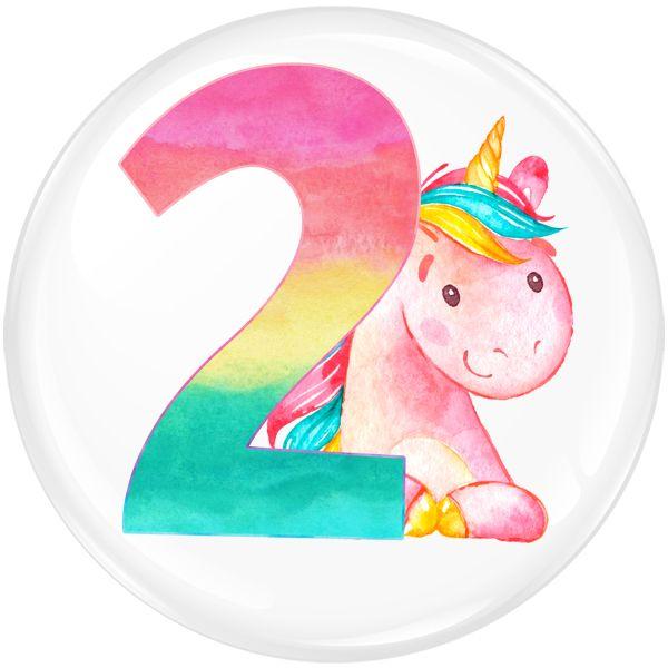 Unicorn 2 Age Birthday Party Badge #450