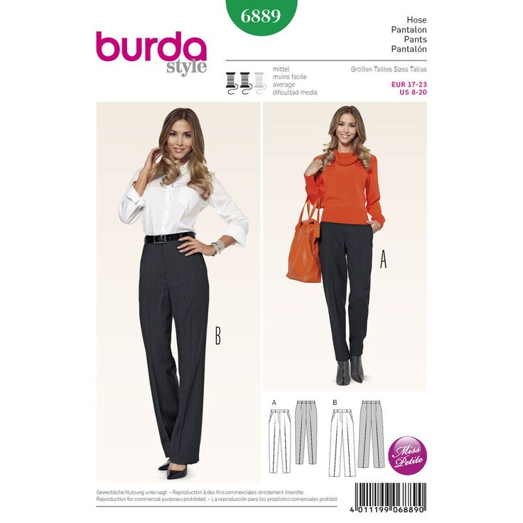 well fitted pants are particularly important for petite women and ideal companions to combine. sew your favorite variant with crease and slant pockets in the slender cut or with fuller, straight legs