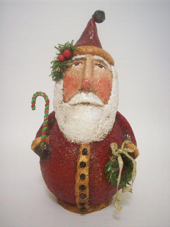 Primitive paper mache folk art santa paper folk art and art for Paper mache christmas