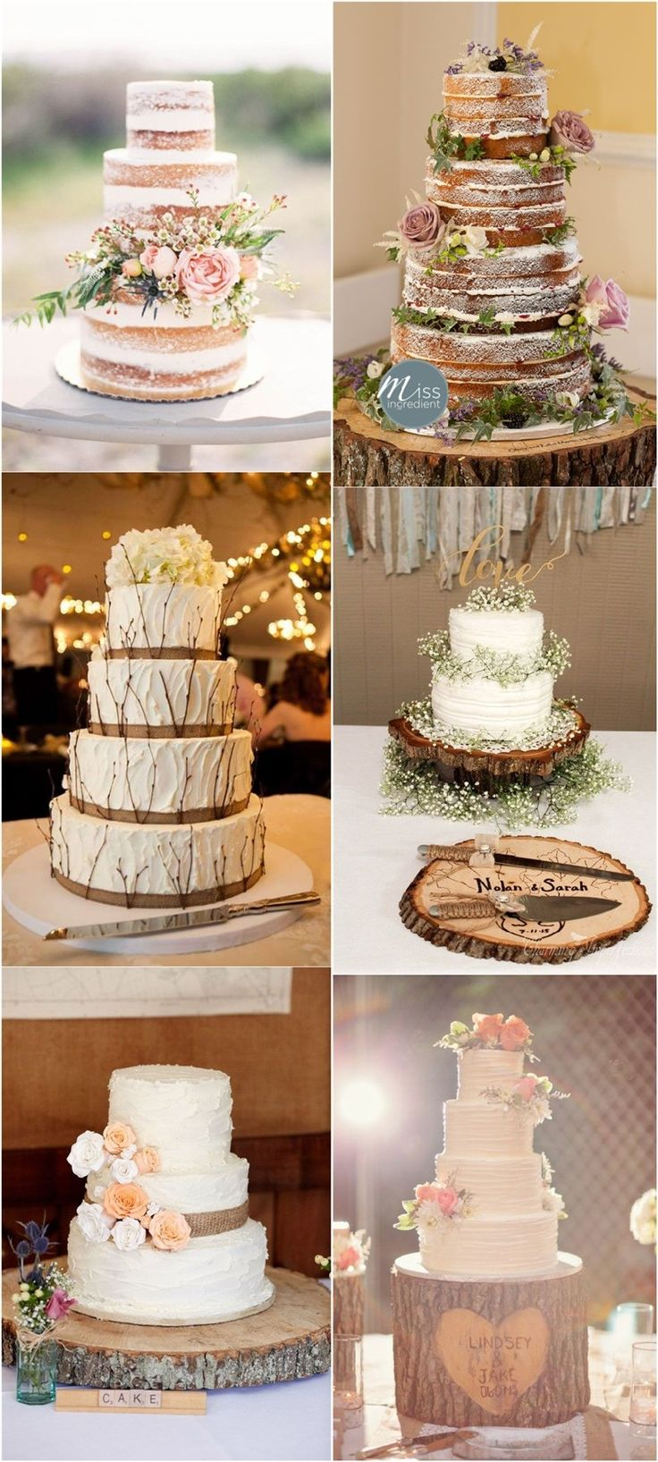 Vintage naked ructic wedding cakes with burlap