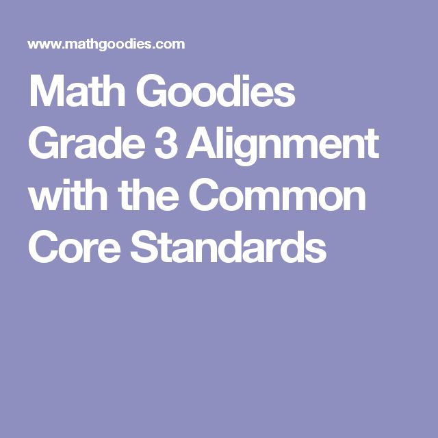 Math Goodies Grade 3 Alignment with the Common Core Standards