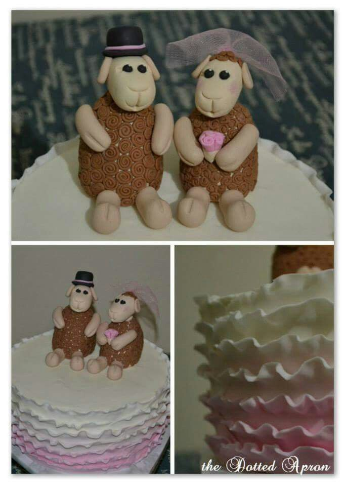 Wedding cake. Sheep. Made by The Dotted Apron Bloemfontein. https://m.facebook.com/profile.php?id=703914623013978&refsrc=https%3A%2F%2Fwww.facebook.com%2Fpages%2FThe-Dotted-Apron%2F703914623013978