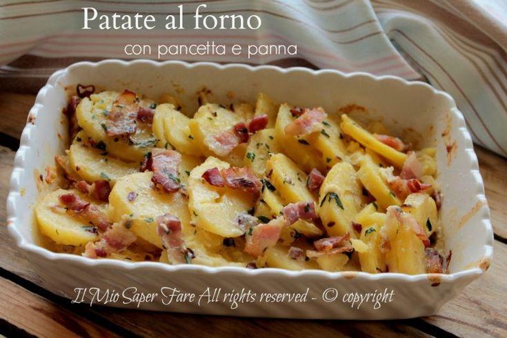 Patate al forno con pancetta e panna dorate e gustose #PATATE #RICETTE