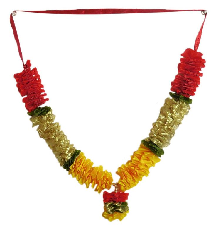 Yellow, Red and Golden Cloth Garland (Cloth)
