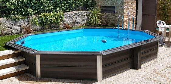 WPC Composite Pool oval 8,04 x 3,86 x 1,24 m inkl