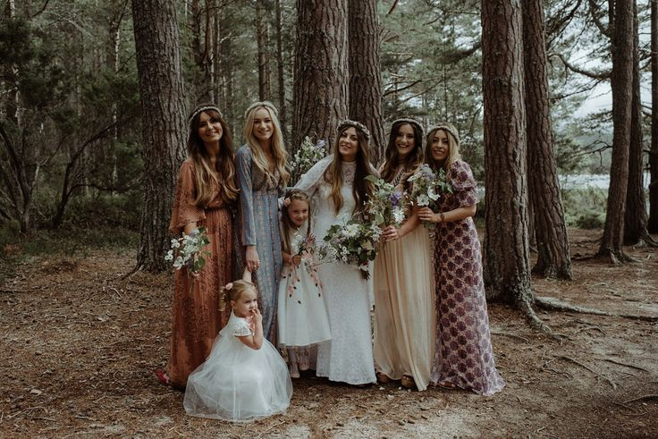 Jen & bridesmaids wear 1970's dresses for a vintage, bohemian and nature inspired forest wedding at The Dell of Abernethy at Abernethy Bridge in the Scottish Highlands. Photography by The Kitcheners.