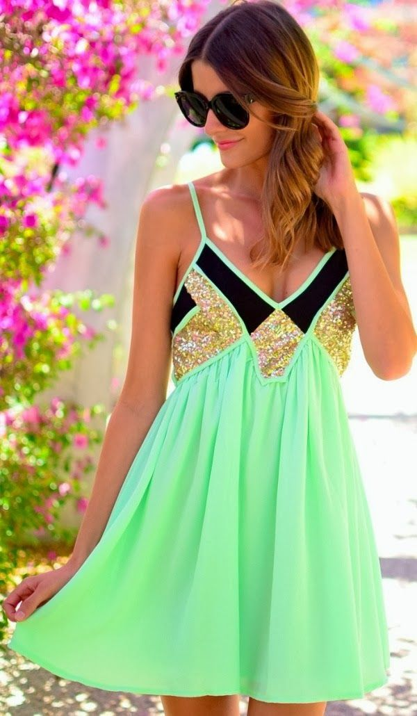 Thin strap mint mini flowy dress style