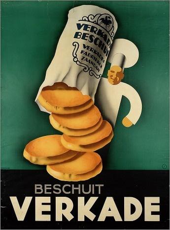 Beschuitbus, verkade, not bolletje reclame advertising Dutch bakerman koksmuts wit.