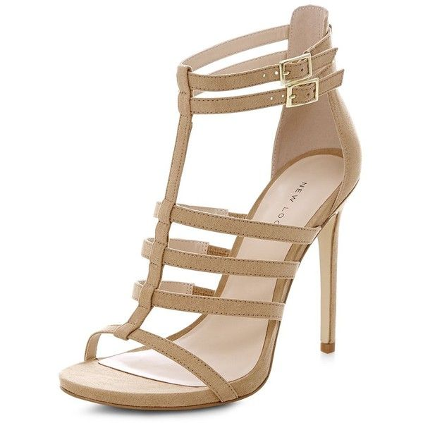 Stone Suedette Gladiator Heeled Sandals (877235 BYR) ❤ liked on Polyvore featuring shoes, sandals, biscuit, caged shoes, gladiator heel sandals, stone sandals, stone shoes and caged sandals