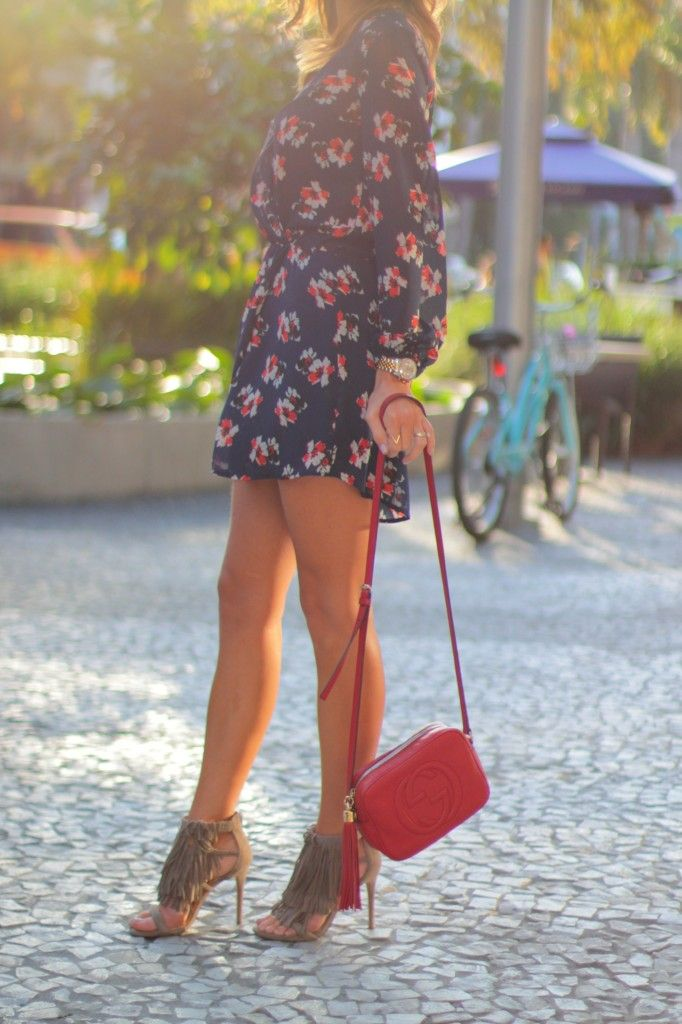 {it's a fringe thing} Navy Floral dress, taupe fringe sandals from Steve Madden, green rayban, red gucci disco bag, nude lips and dainty layered necklaces