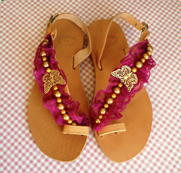 Handmade sandals decorated with purple lace, gold pearls and a gold butterfly