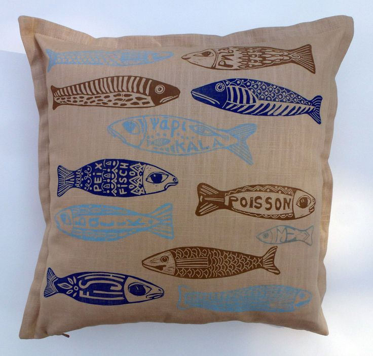 decorative pillow, little fish, linocut, home interior, cushion cover, beach house, text, light blue, beige, dark blue, navy blue, by cushioncushion on Etsy