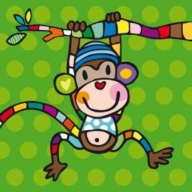 NIEUW! AJ21 > Aapje aan tak   Jongen   Geboortekaartjes van Tanja met een Rietje