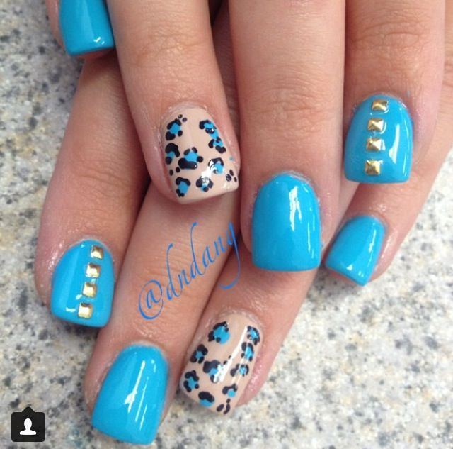 White And Blue Nail Ideas For Prom: Light Blue Acrylic Nails ️