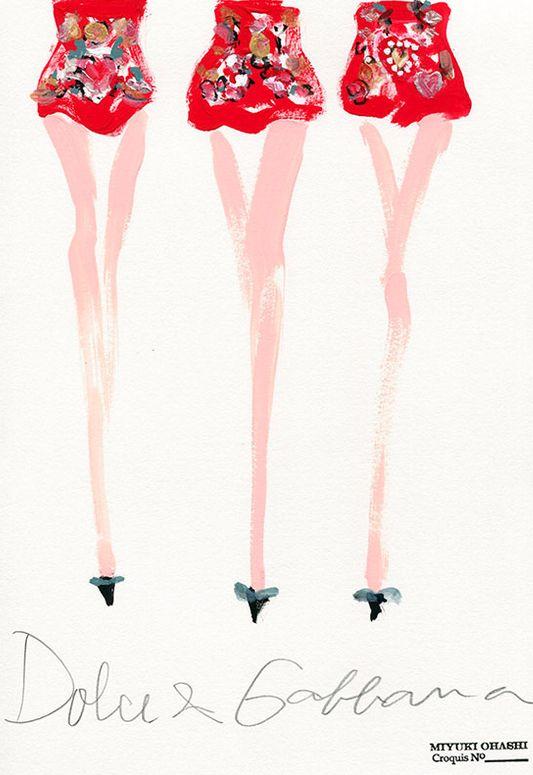 Japanese Fashion Illustrator Miyuki Ohashi, Spring 2015 RTW, Dolce & Gabbana #1.