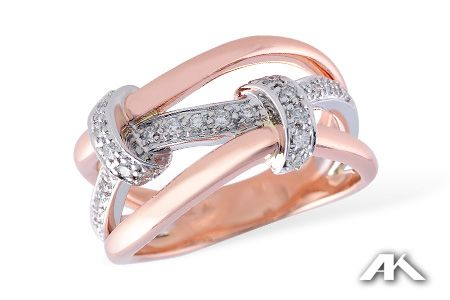 Pink is pretty! 14kt rose and white gold fashion ring with 0.24 carat total weight of diamonds. Cara's fave!