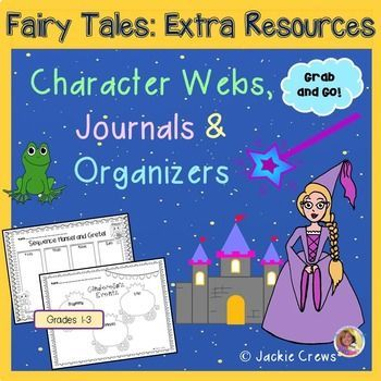 If you are interested in teaching fairy tales, but do not want to invest in big fairy tale bundles, this 26 page product (currently; it's a growing product) might be right for you. Here are 14 graphic organizers designed with graphics from the listed fairy tales and a favorite fairy tale writing page, too.