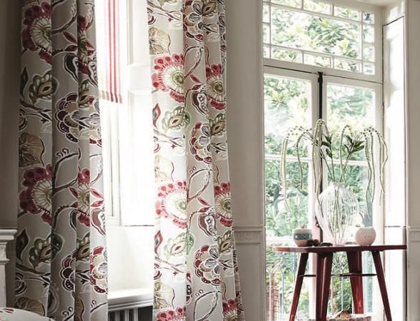 If we go with the red suite, then I'm thinking these drapes on the big bay windows in the living room.