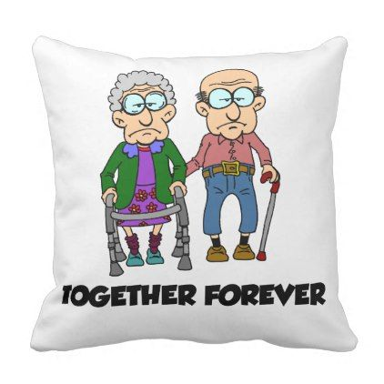 Together Forever Old Couple Cartoon Funny Pillow - anniversary cyo diy gift idea presents party celebration