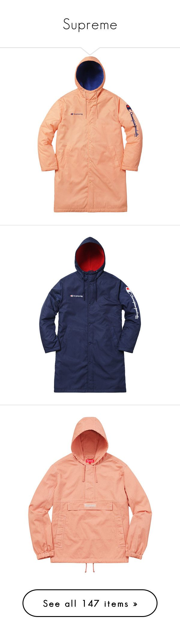 """""""Supreme"""" by mariots22 ❤ liked on Polyvore featuring outerwear, coats, champion coats, red parka coat, parka coats, red parka, red coat, blue parka, blue parka coat and blue coat"""
