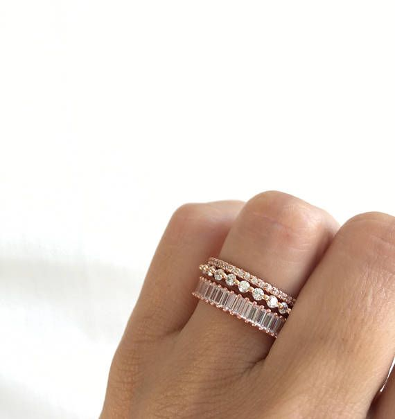 Rose Gold Eternity Ring Set Stackable Rings Rose Gold Stacking