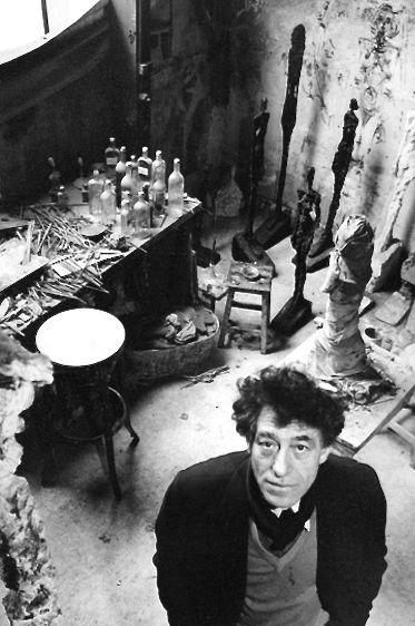 Alberto Giacometti in his studio by Robert Doisneau