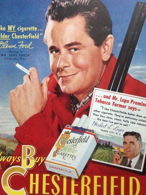 Vintage Chesterfield Ad Glenn Ford Cigarette Ad Vintage