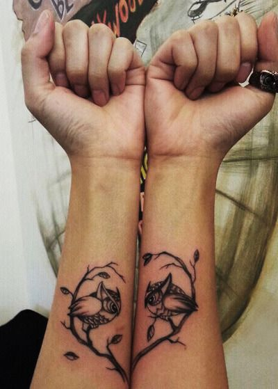 owlies.Couples Tattoo, Tattoo Ideas, Love Tattoo, Friends Tattoo, Owls Tattoo, Cute Ideas, Heart Tattoo, Matching Tattoo, Sisters Tattoo