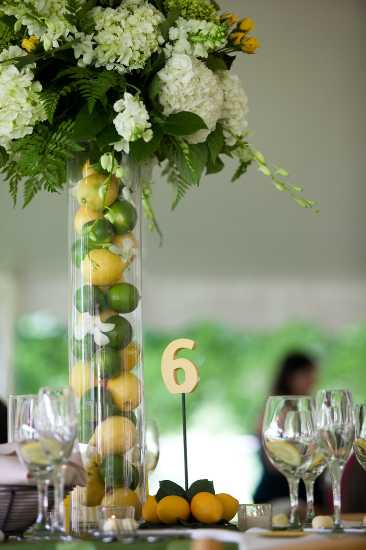 Fruit accents--I love the tall vase with the lemons and limes. Wedding  DinnerWedding ReceptionWedding DecorThe ...